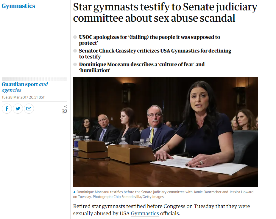 The film of the gymnasts giving evidence to the Senate Committee is embedded in the article.